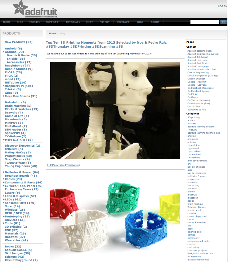 InMoov top ten of the 3d printables 2013 by Adafruit